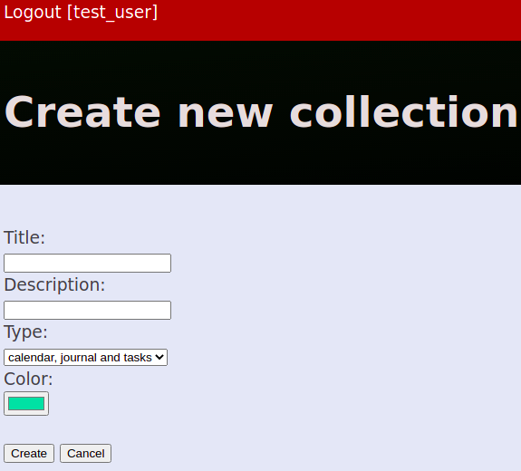 Create new collection screen