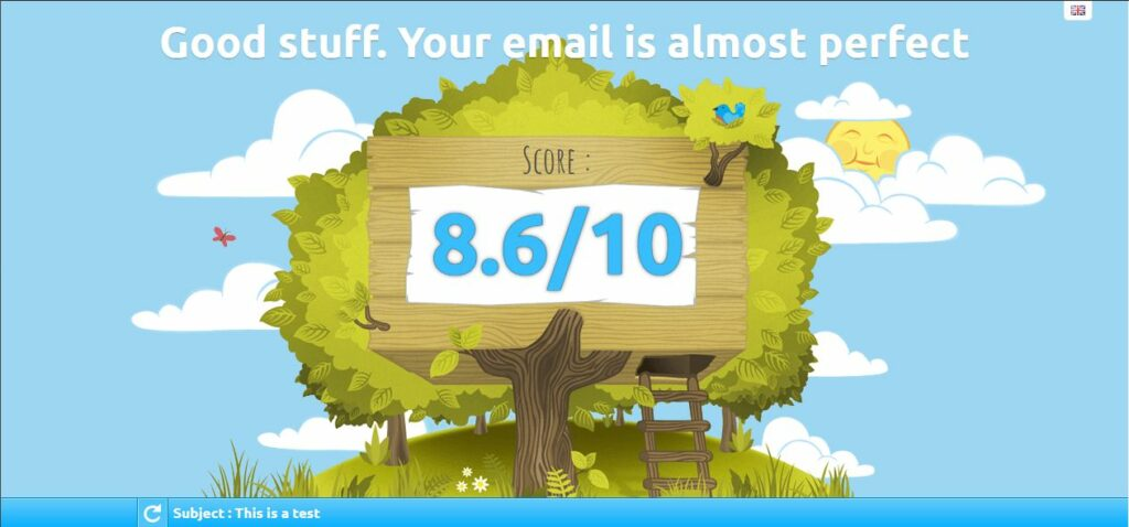 email test result