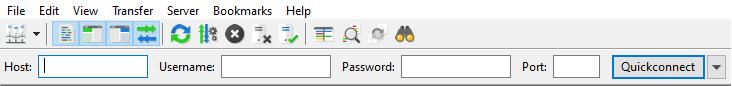 FileZilla FTP client connection panel