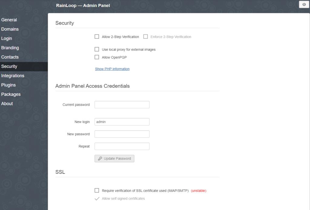 webmail admin